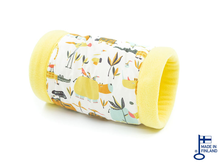 guinea pig accessory tunnel fleece yellow kavee handmade c&c cage