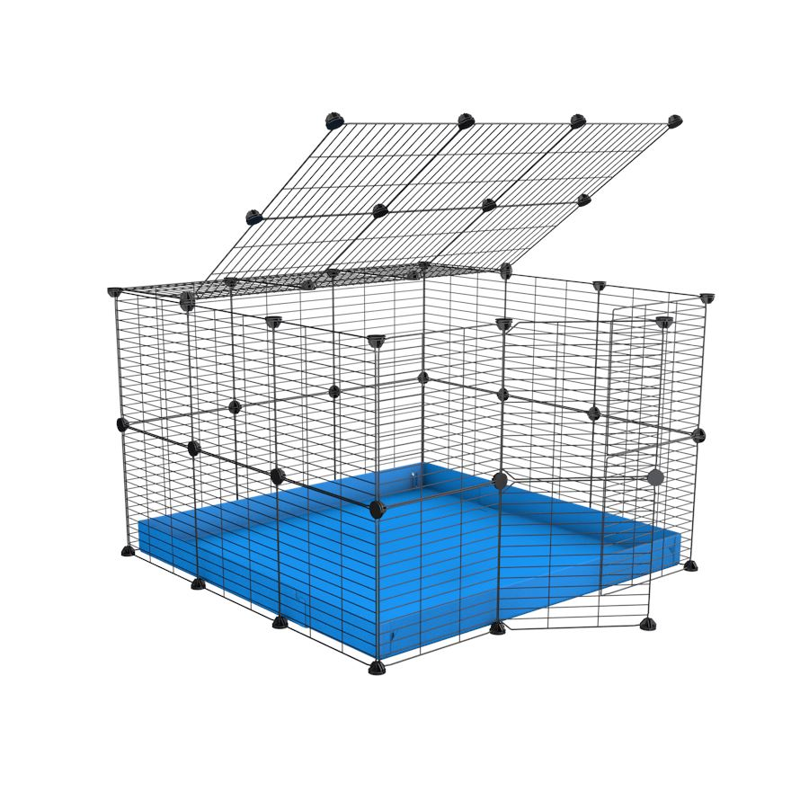 A 3x3 C and C rabbit cage with lid and safe baby grids blue coroplast by kavee UK