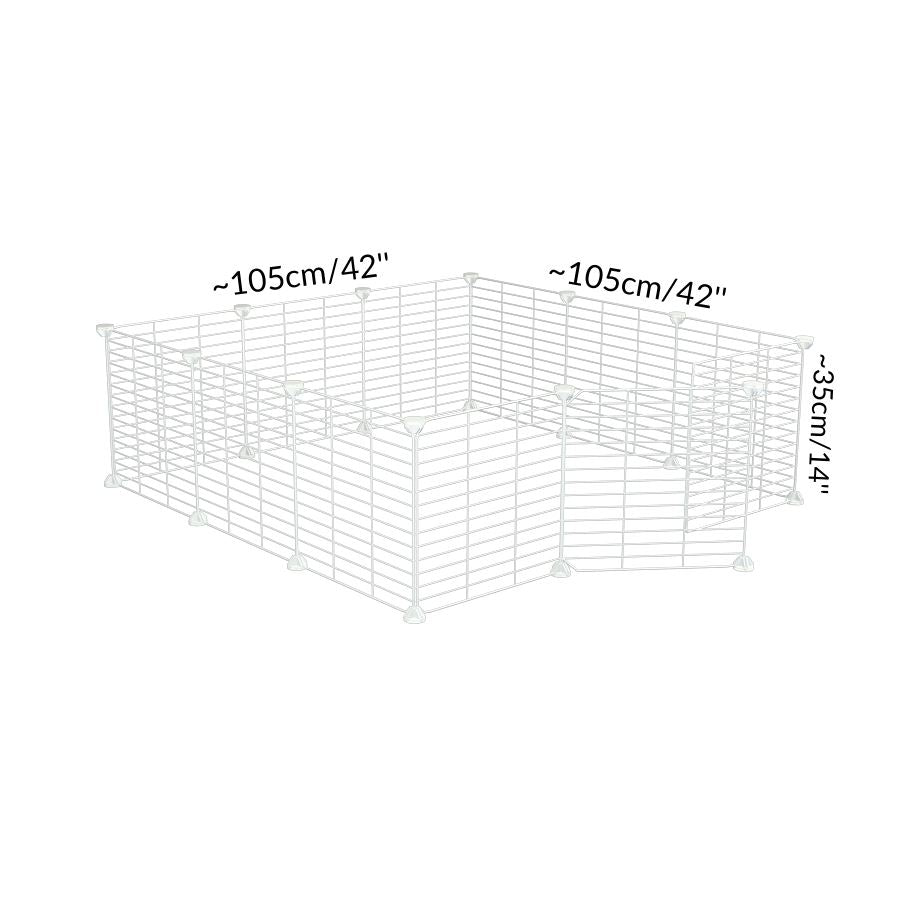 Size of a 3x3 outdoor modular playpen with baby proof C and C white C and C grids for guinea pigs or Rabbits by brand kavee