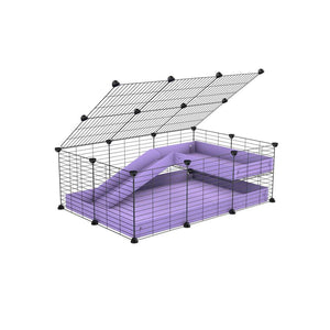 a 2x3 C and C guinea pig cage with loft ramp lid small hole size grids purple lilac pastel coroplast kavee