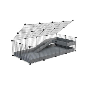 a 2x4 C and C guinea pig cage with loft ramp lid small hole size grids grey coroplast kavee