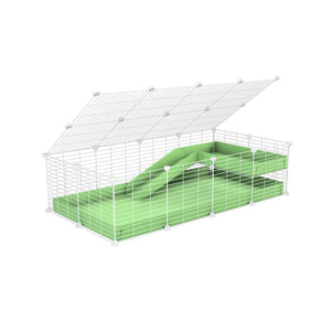 a 2x4 C and C guinea pig cage with loft ramp lid small hole size white grids green pastel pistacchio coroplast kavee