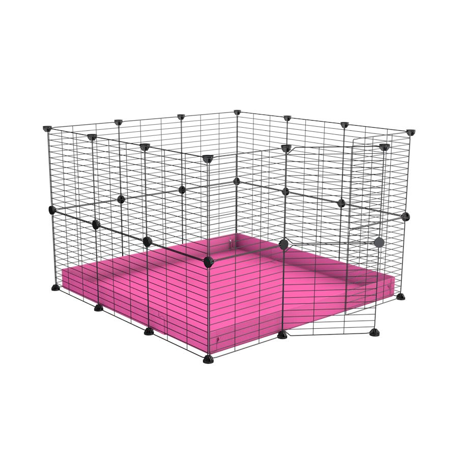 A 3x3 C and C rabbit cage with safe baby bars grids and pink coroplast by kavee UK