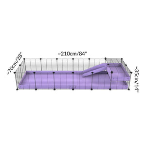 Size of a 6x2 C&C guinea pig cage with a loft and a ramp purple lilac pastel coroplast sheet and baby bars by kavee