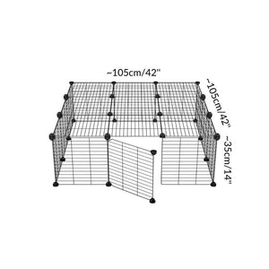 Dimensions of a 3x3 outdoor modular playpen with baby C and C grids for guinea pigs or Rabbits by brand kavee