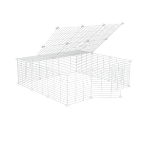 a 3x3 outdoor modular playpen with lid and baby proof white C and C grids for guinea pigs or Rabbits by brand kavee
