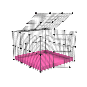A 3x3 C and C rabbit cage with lid and safe baby grids pink coroplast by kavee UK