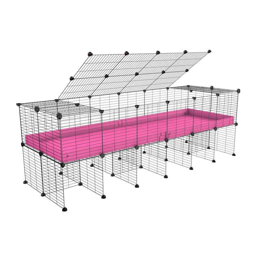 a 6x2 C&C cage for guinea pigs with a stand and a top pink plastic safe grids by kavee