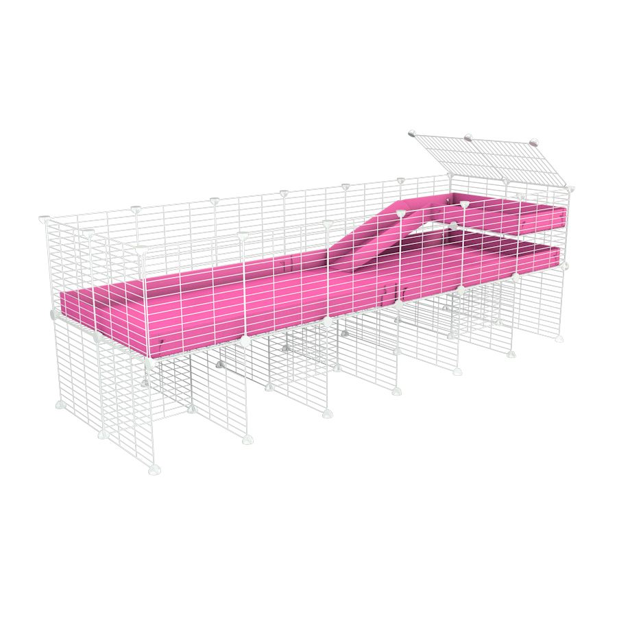 a 6x2 CC guinea pig cage with stand loft ramp small mesh white grids pink corroplast by brand kavee