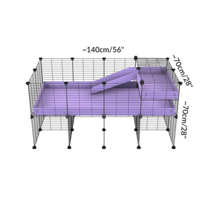 Size of a 4x2 CC guinea pig cage with stand loft ramp small mesh grids purple lilac pastel corroplast by brand kavee
