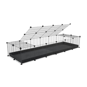 A 2x6 C and C cage for guinea pigs with black coroplast a lid and small hole grids from brand kavee