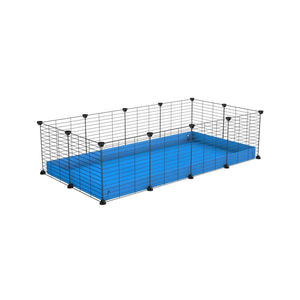 A cheap 4x2 C&C cage for guinea pig with blue coroplast and baby grids from brand kavee