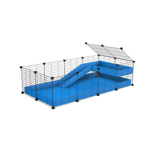 a 4x2 C&C guinea pig cage with a loft and a ramp blue coroplast sheet and baby bars by kavee