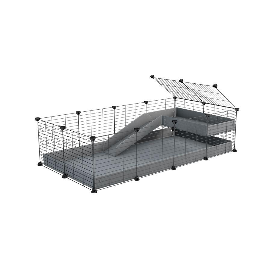 a 4x2 C&C guinea pig cage with a loft and a ramp grey coroplast sheet and baby bars by kavee
