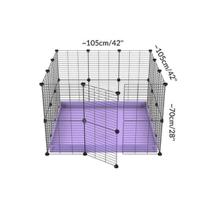 Dimension for A 3x3 C and C rabbit cage with safe small size hole baby grids and purple coroplast by kavee UK