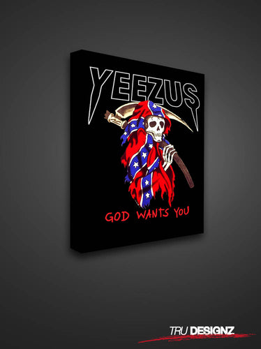 Kanye West Yeezus Tour Grim Reaper God Wants You Tour Canvas