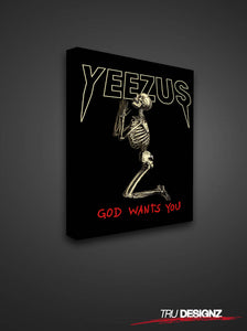 Kanye West Yeezus Tour Praying Skull God Wants You Tour Canvas
