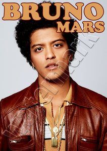 Bruno Mars Retro Leather Jacket Look Poster
