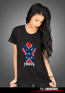 **Sale** Kanye West Yeezus Tour Confederate Flag Fist Logo Women's T-Shirt