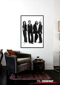 The Beatles Group Black And White Poster