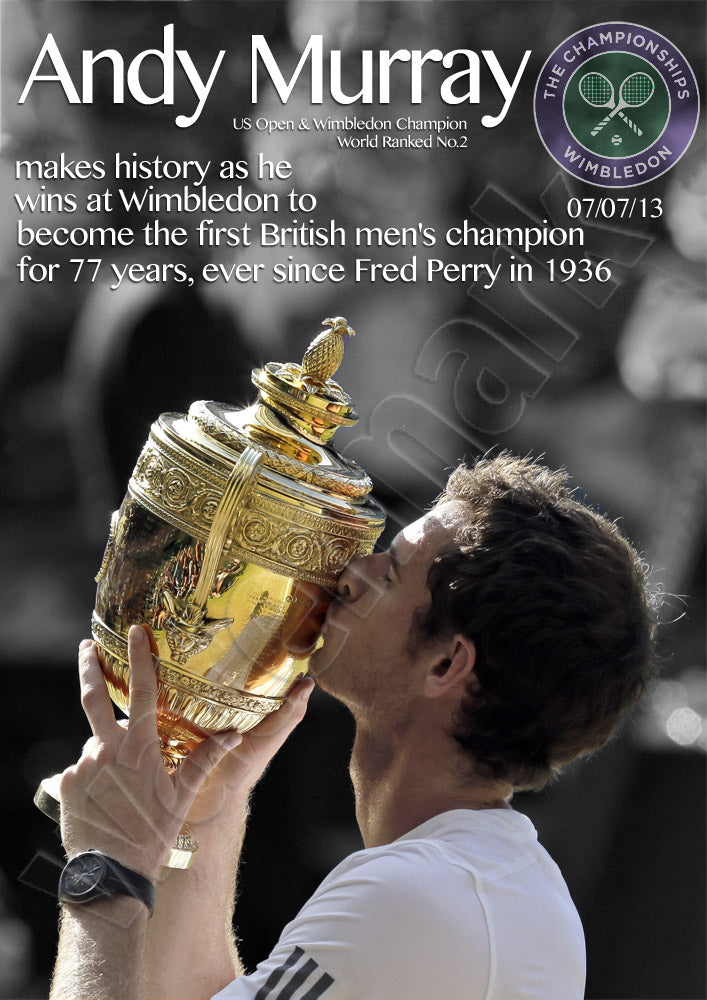 Andy Murray Wimbledon Champion Making History Poster