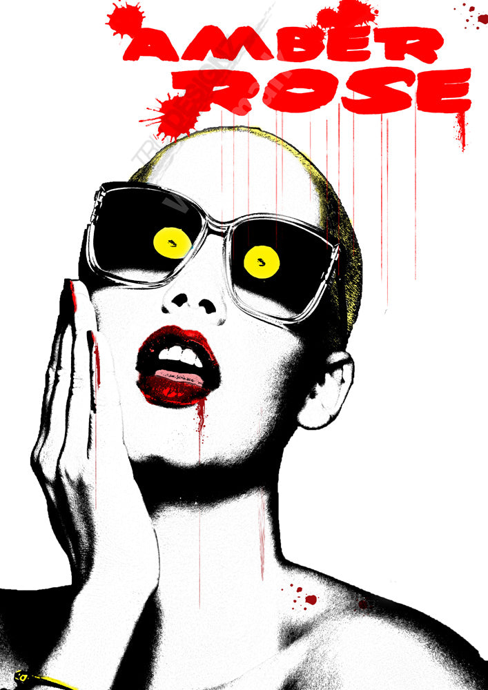 Amber Rose Red Lipstick Poster