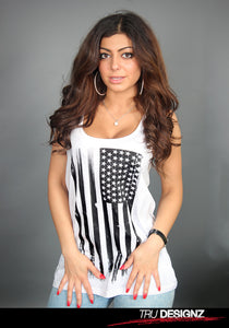 Vintage Black And White American Flag Women's Graphic Vest