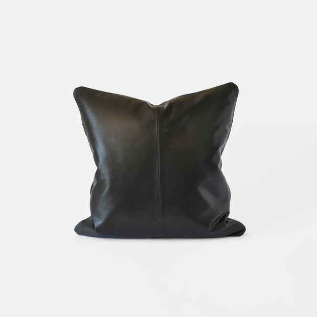 Bahru Leather Pillow in Black