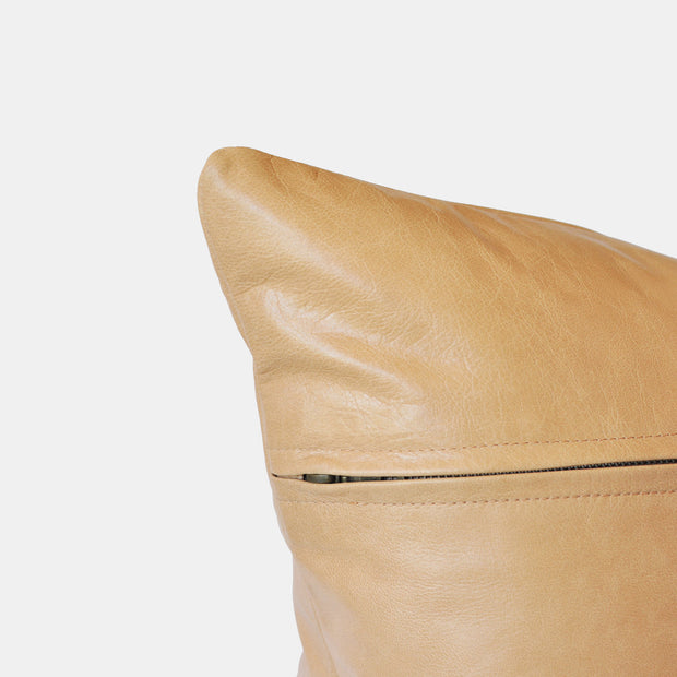 Bahru Leather Pillow in Blush