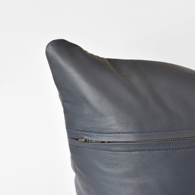 Bahru Leather Pillow in Navy