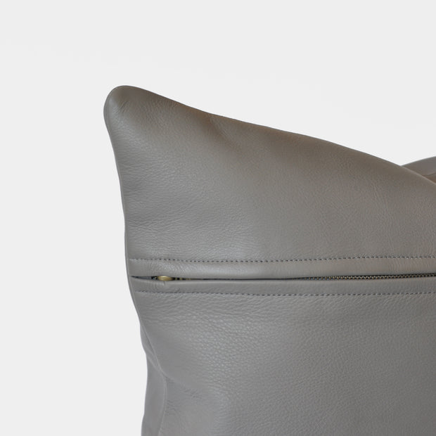 Bahru Leather Pillow in Grey