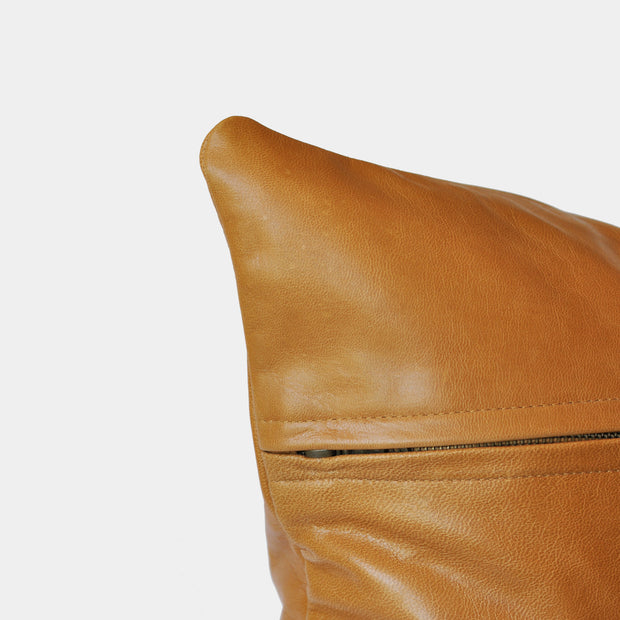 Bahru Leather Cushion in Tan