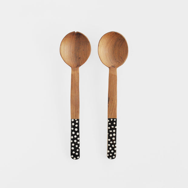 Polka Dot Olive Wood and Cow Bone Servers