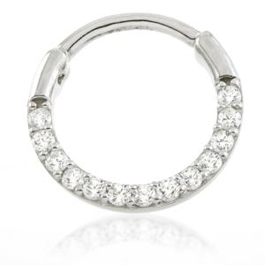 Crystal Hinged Daith Ring in 14ct Yellow or White Gold 10mm x 1.2 - BMG Body Jewellery