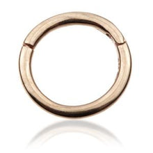 Load image into Gallery viewer, 14ct Hinged ring 1.2 x 10mm Yellow, White or Rose Gold - BMG Body Jewellery