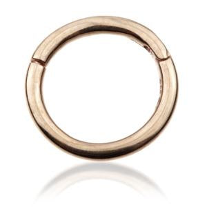 14ct Hinged ring 1.2 x 10mm Yellow, White or Rose Gold - BMG Body Jewellery