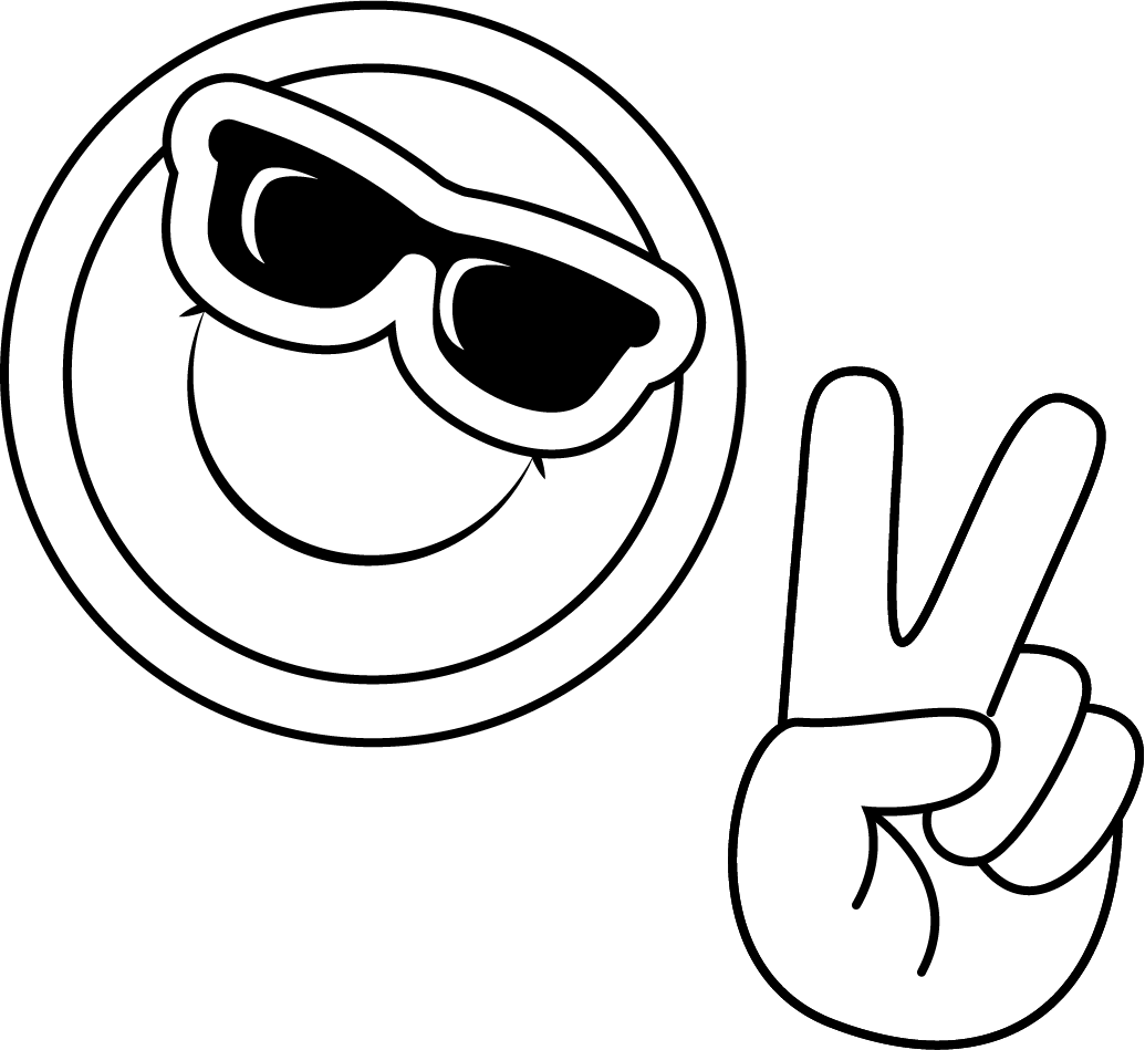 Smiley with sunglasses and hand making peace sign