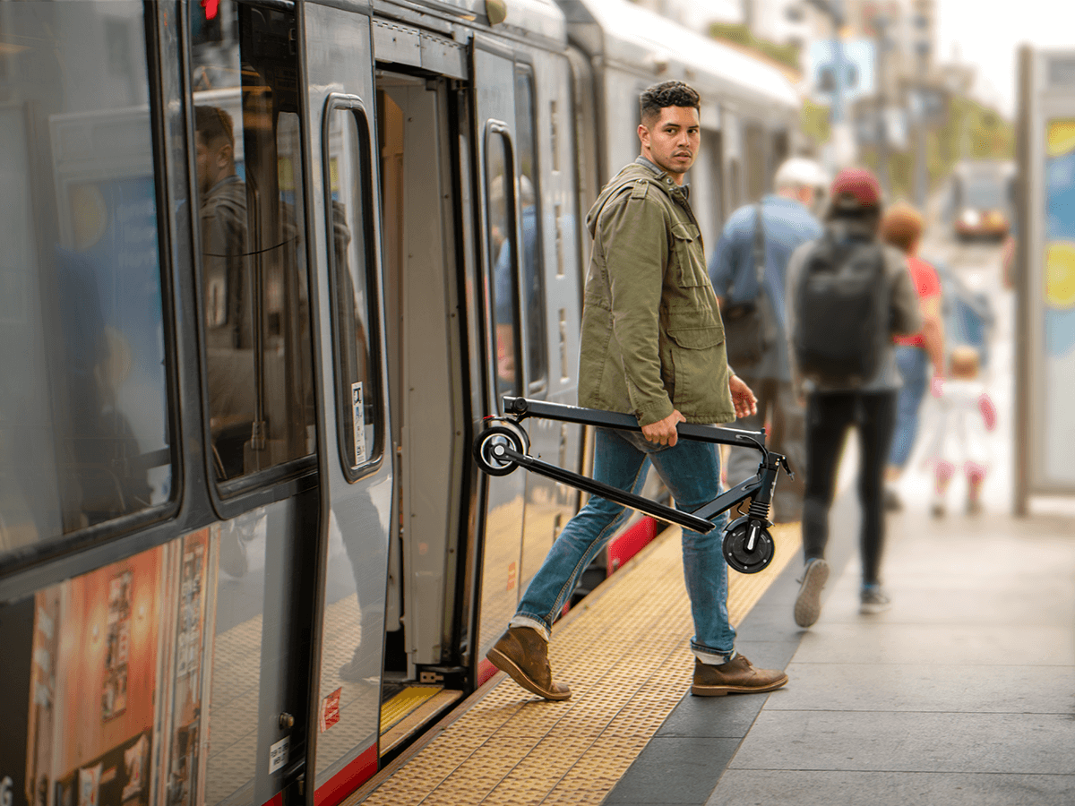 Jetson Element Electric Scooter easy to fold and take on the train