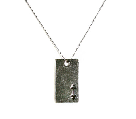 Barbell Dog Tag Pendant - Unbroken Designs - Canada