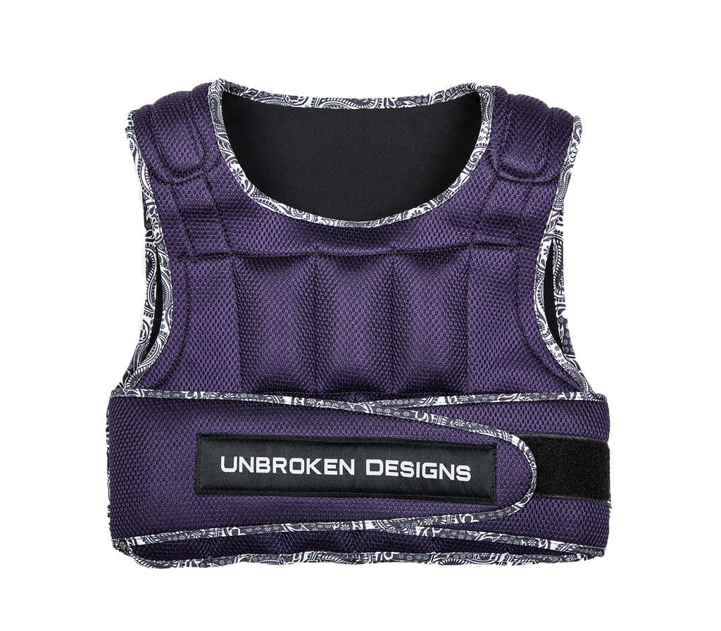 Purple Mesh with Paisley Print 9kg Weight Vest - Unbroken Designs - Canada