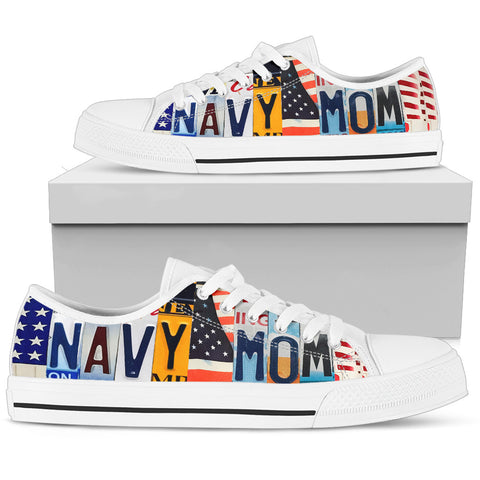 Proud Navy Mom Low Top Shoes