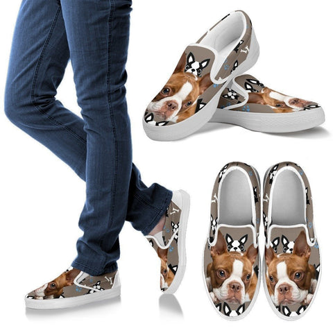 Red Boston Terrier Print Slip Ons For Women- Exrpess Shipping