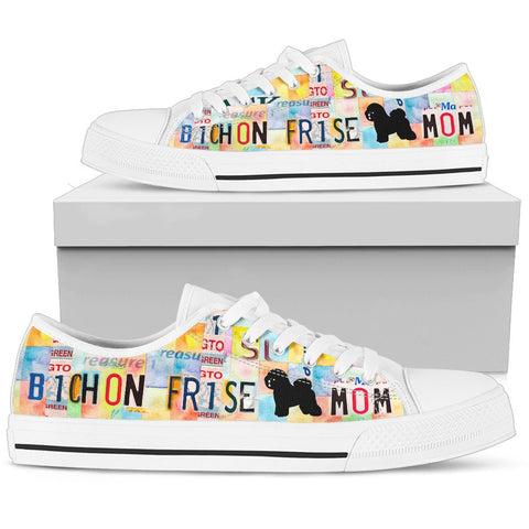 Bichon Frise Mom Print Low Top Canvas Shoes for Women
