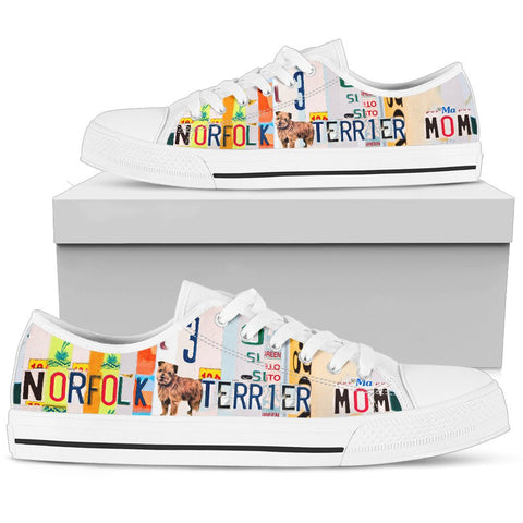 Norfolk Terrier Print Low Top Canvas Shoes for Women