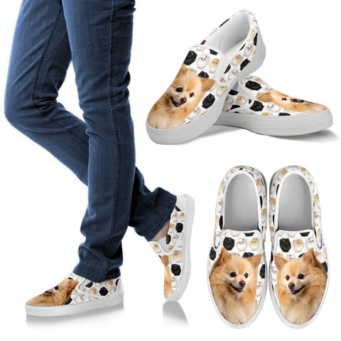 Pomeranian Dog Print Slip Ons For Women-Express Shipping