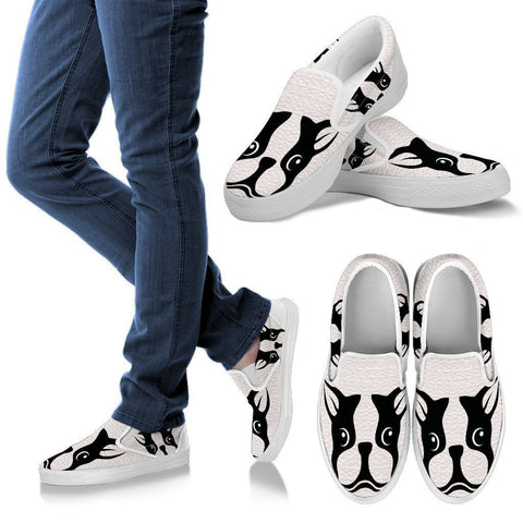 Boston Terrier Dog Print Slip Ons For Women-Free Shipping
