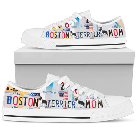 Boston Terrier Mom Print Low Top Canvas Shoes for Women