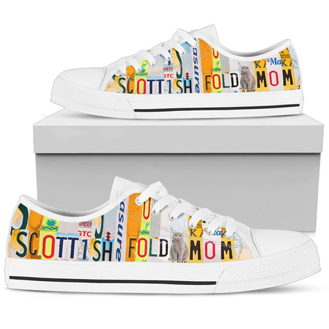 Scottish fold Mom Print Low Top Canvas Shoes for Women