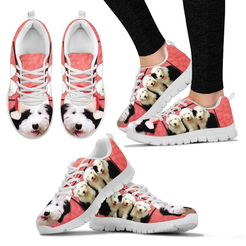 Old English Sheepdog With Santa Cap Running Shoes For Women- Free Shipping