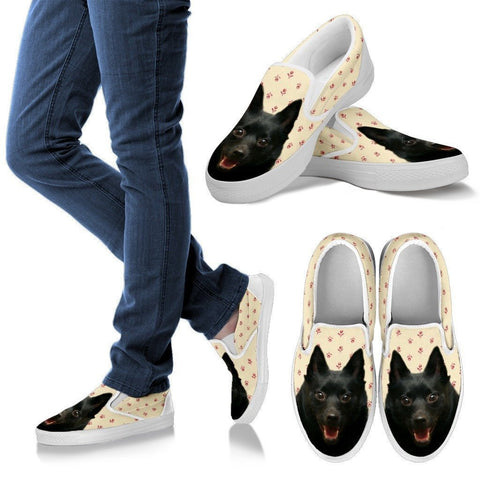 Schipperke Dog Print Slip Ons For Women-Express Shipping